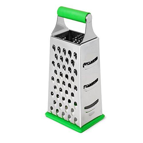 Razator Box Grater, PREMIUM 4-Sided Stainless Steel Shredder With Soft Ergonomic Handle & Non-Slip Bottom-Hard, Soft Parmesan Cheese Grater, Vegetable Slicer, Nutmeg Shredder, Ginger Hand Grater Set