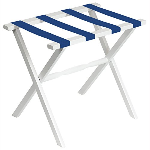 White Straight Leg Luggage Rack with 4 Bright Blue Straps by Fine Folding Furniture