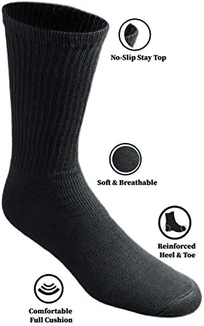 Dickies Men's All Purpose Cushion Crew Socks (6/12 Packs)