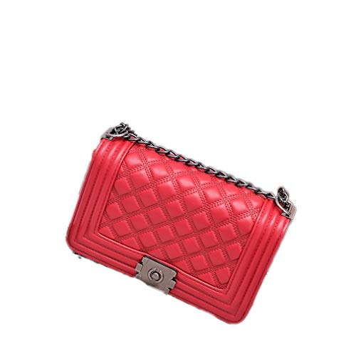 (ANANXILA Diamond Lattice Women Bag Handbags Chain Women Messenger Bag Line Red )