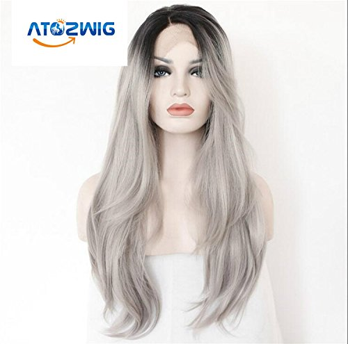 ATOZWIG 2 Tones Synthetic Lace Front Wig Ombre Hand Tied Straight Silver Wig Dark Roots Heat Resistant Fiber Hair LS010079