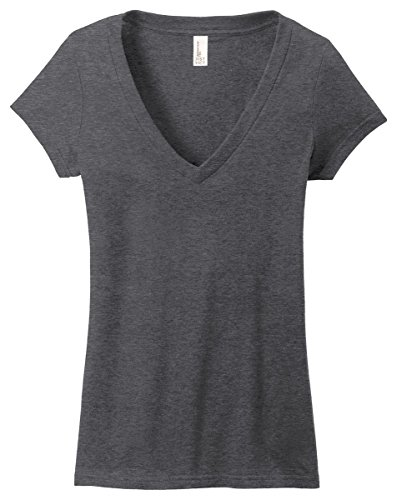 (District Juniors Very Important T-Shirt Deep V-Neck, Heathered Charcoal, 2XL)