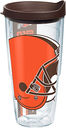 Tervis 1239507 NFL Cleveland Browns Colossal Insulated Tumbler with Wrap Lid, 24oz, Clear Cleveland Browns Travel Mug