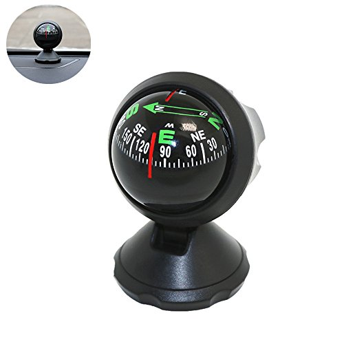 Marine Dash Mount Compass - Car Compass Ball, Leagway Mini Compass Compact Ball Compass with Adhesive and Delicate Decoration, Perfect for Finding Direction, Universal Dashboard Dash Stand Compass for Most Boat Car Truck