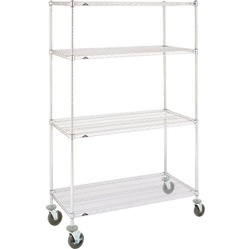 48 in. Chrome-Plated Stem Caster Mobile Wire Shelving Unit, Polyurethane Casters - N456EC - - Chrome Plated Casters Stem