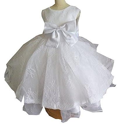 Blanco bordado vestido de niña de flores de encaje niño para Comunión 1er Cumpleaños trajes 1199