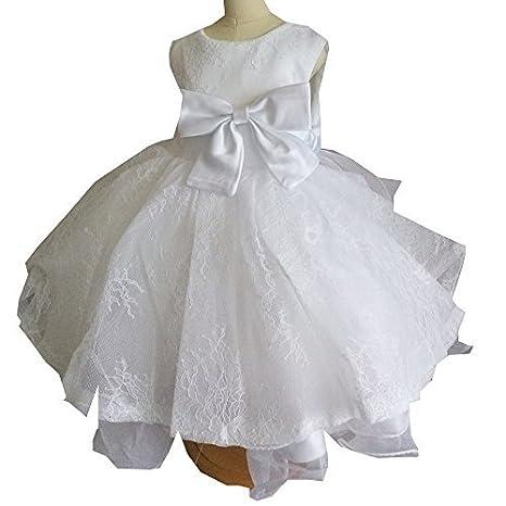 Bianco vestito da ragazza con fiori per ricami in pizzo per comunione 1st  compleanno Outfits 1199 188ddd2d612