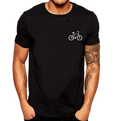 Cartoon Bicycle Patterns Printed T-Shirt Top Blouse Top(Black,L) ()