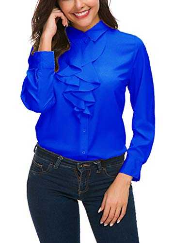 ge Long Sleeve Lotus Ruffled Casual Work Shirt Chiffon Blouse Tops (M, Royal Blue) ()