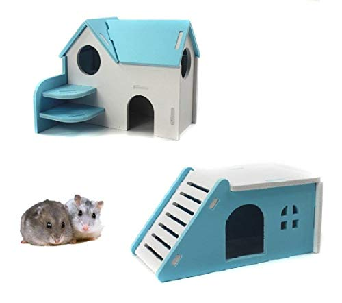Wooden Hamster House,Hideout Hut Exercise Natural Funny Nest Toy(Pack of 2) (Blue)