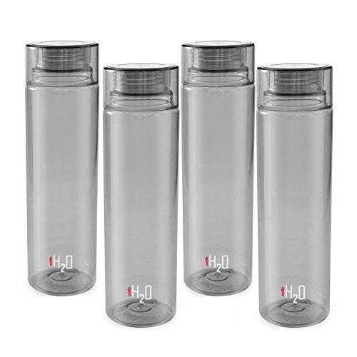 Cello H20 Unbreakable Plastic Bottle Set, 1 Litre, Set of 4, Grey