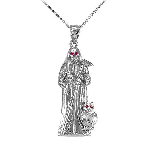 (Skeleton Jewelry High Polish 925 Sterling Silver CZ-Studded Santa Muerte Pendant Necklace, 16