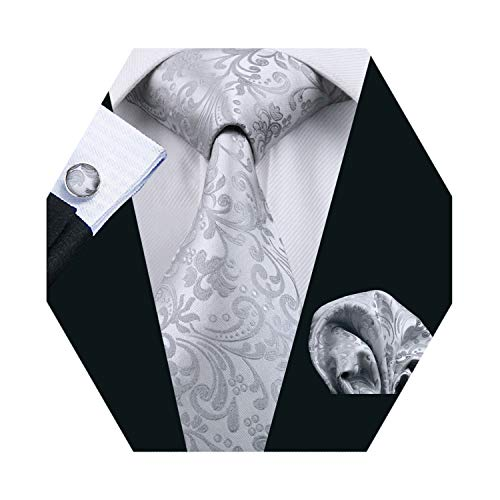 (Barry.Wang Mens Tie Set Gray Floral Silk Necktie Handkerchief Cufflinks)