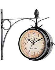 Garden Clocks Outdoor Waterproof, Wrought Iron Vintage Decorative Double-Sided Outdoor Clocks for The Garden Wall Mounted Battery Powered Metal Hanger Outside Clock Coffee Bar Round Station A