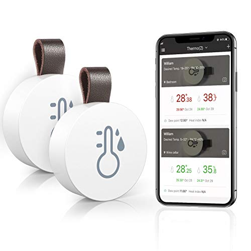 Wireless Thermometer Hygrometer, Mini Bluetooth Humidity and Temperature Sensor with Data Export for iOS Android, Temp Humidity Monitor for House, Wine Cigar, Living Room, Baby Room-2 Pack