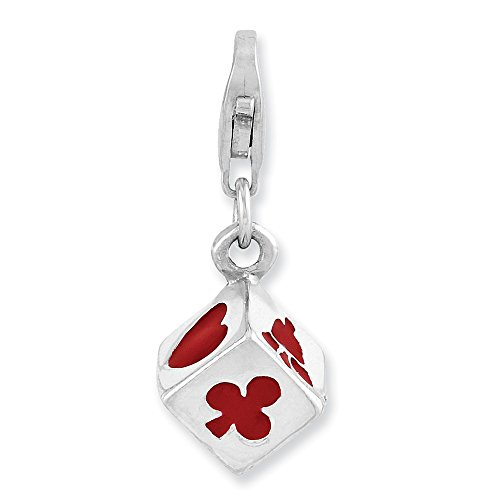 925 Sterling Silver 3 D Enameled Die Lobster Clasp Pendant Charm Necklace Gambling Fine Jewelry Gifts For Women For -