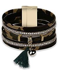 Alloy Leather Bracelet Bangle For Women Ball Rope Tassel...