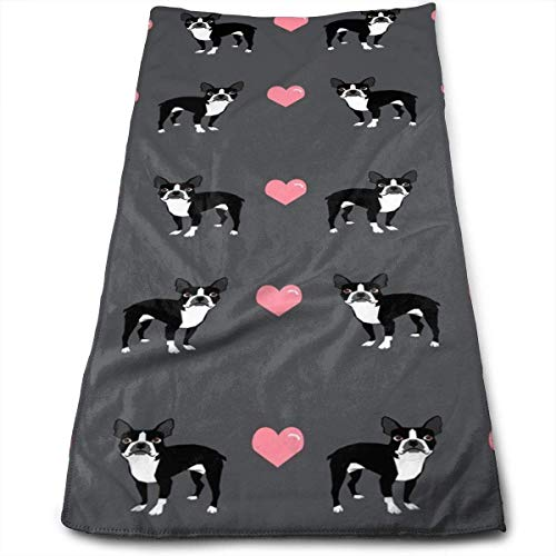 (Winlock Boston Terrier Love Hearts Multi-Purpose Microfiber Towel Ultra Compact Super Absorbent and Fast Drying Sports Towel Travel Towel Beach Towel Perfect for Camping, Gym, Swimming.)