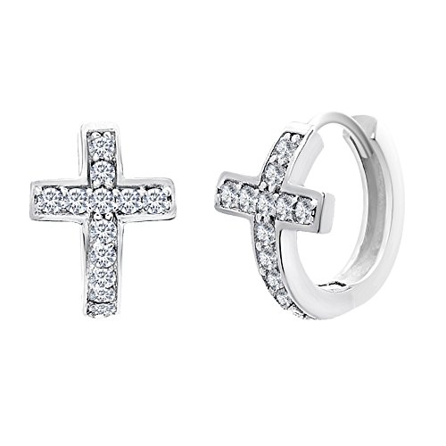 Best Selling 18K White Gold Over Sterling Silver Cubic Zirconia Pave Religious Rosary Cross Huggie (How To Make A Halo Costume)