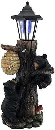Zeckos Bearly There Honey Hungry Climbing Cubs Solar Lantern Statue