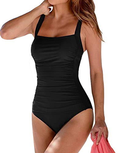 Leslady Damen Einfarbig Badeanzug Bandeau Monokini Figurformende Verstellbarer Schultergurt Badeanzüge Falten Bademode Schwimmanzug