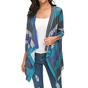 BISHUIGE Women's 3/4 Sleeve Kimono Loose Cardigan Sweaters X-Small,Green