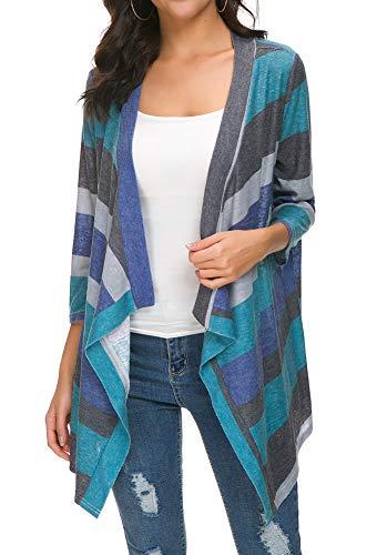 BISHUIGE Women's 3/4 Sleeve Kimono Loose Cardigan Sweaters 2X-Large,Green ()