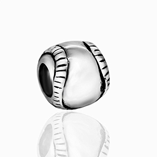 The Kiss Sports Soccer Football Tennis Baseball Baseball Sterling Silver Bead Fits European Charm Bracelet (Baseball 2)