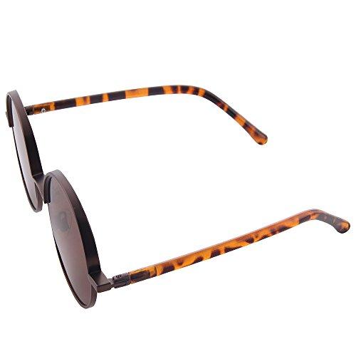 redondo Leopardo Lennon de las círculo gafas los Style y Retro marron mujeres para Ogobvck metal de sol inspiró Vintage hombres vqwUYKtF