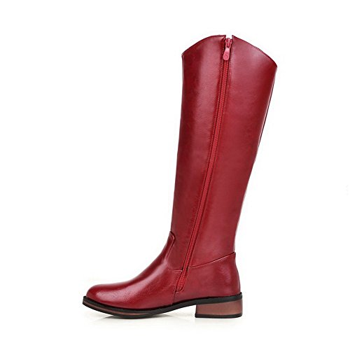 Red Boots Closed On Round AgooLar Pull Women's Top Heels Solid Mid Toe Low 7fw14q