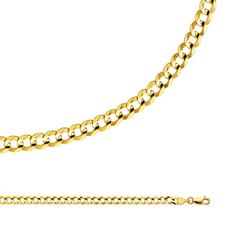 Open Curb Chain - Cuban Chain Solid 14k Yellow Gold Necklace Curb Open Concave Link Wide Light, 4.7 mm - 22 inch