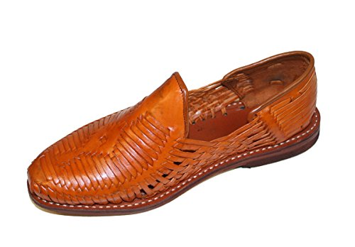 Men Genuine Authentic Leather Closed Toe Mexican huarches Sandal Tan_6