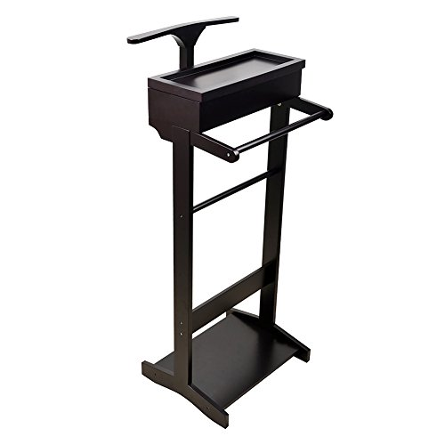 GLS Black Wood Suit Valet Stand Clothes Rack