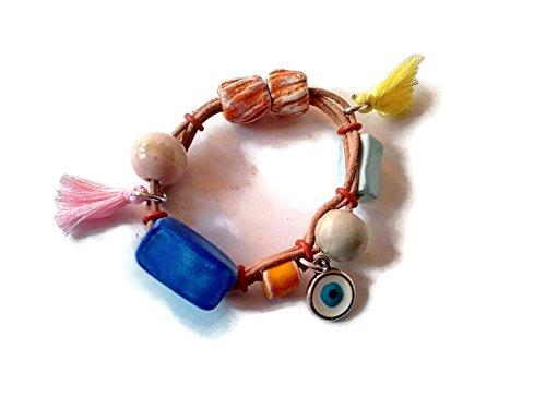 (Beaded bracelet, wrap bracelet for girls or woman, leather bracelet for her)