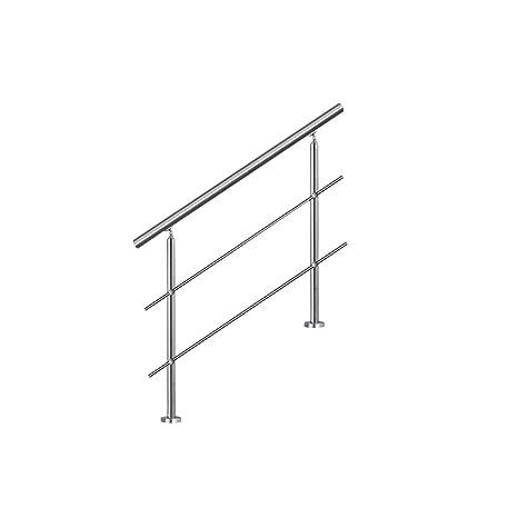 LZQ 80cm Barandilla de acero inoxidable, pared pasamanos escaleras barandilla con 2 travesaños para escaleras, balcones