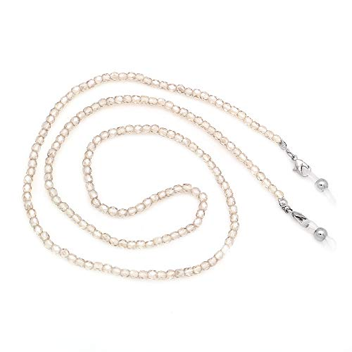 KAI Top Beaded Crystal Eyeglass Chain Glass Seed Bead Eyeglass Strap Sunglasses Holder Necklace Eyewear Retainer Lanyard (Champagne)