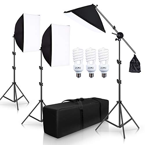 (SH Photography Photo Studio Lighting Kit Set Softbox Setup with Light Stand Square Cube Softbox Cantilever Bag softbox with 2 PCS 5500K Daylight Bulbs)