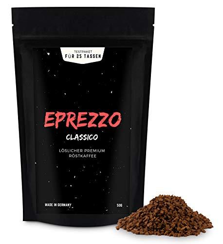EPREZZO - löslicher Premium Röstkaffee für Crema und Espresso, 50g Testpaket für 25 Tassen Kaffee, hergestellt aus frisch geröstetem und gemahlenem Bohnen-Kaffee