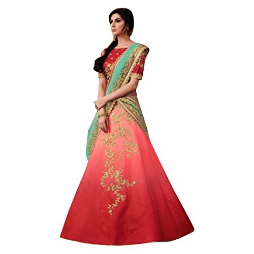 (Shaded Red Lehenga Silk Wedding Blouse Work Chaniya Choli Party Net Dupatta Muslim Women Festival 7363)