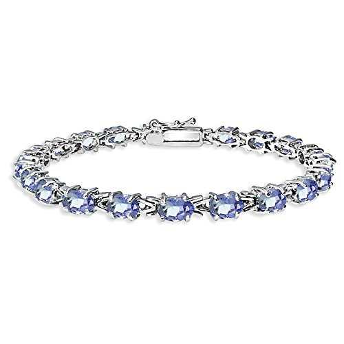 Sterling Silver Polished Tanzanite 6x4mm Oval-cut Link Tennis Bracelet by GemStar USA