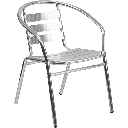 - Flash Furniture Commercial Aluminum Indoor-Outdoor Restaurant Stack Chair with Triple Slat Back and Arms