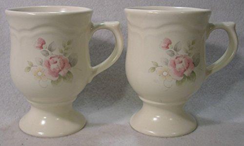 Pfaltzgraff Tea Rose Pattern Pedestaled Mugs, St of 2