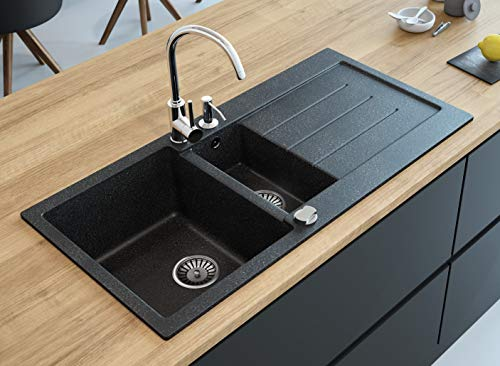 "Black Kitchen Sink Lavello Decoro 150LT 39"" Granite Sink Composite Double Bowl Big Range of Kitchen Sinks Drop In Top Mount"