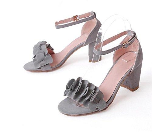 34 Confort Grey 35 Xie terciopelo Única 7cm Sandalias antideslizante 36 42 Decoración De Palabra Grey Hebilla Mujer Con sandalias Flores CxnpqzgC6w