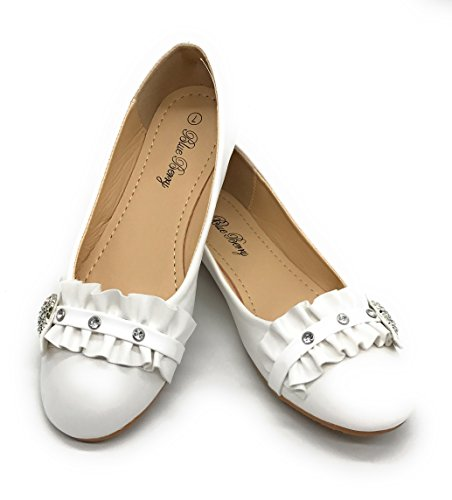 Blue Berry EASY21 Women's Casual Flats Fashion Ballet Shoes Faux Leather,White68,Size 5.5