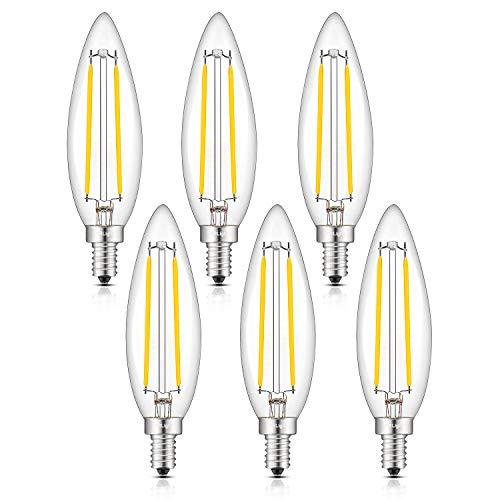 CRLight 5W LED Candelabra Bulb 4000K Daylight White 50W Equivalent 500 Lumens, E12 Base Dimmable LED Candle Filament Bulbs, Lengthened B11 Clear Glass Torpedo Shape LED Chandelier Light Bulbs, 6 Pack