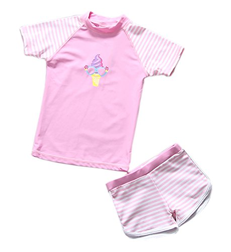 TAIYCYXGAN Baby Toddler Girls Two Pieces Swimsuit Set Girls Short Sleeve Bathing Suit Sunsuit Rash Guards UPF 50+ Pink - Swimsuits Rated X