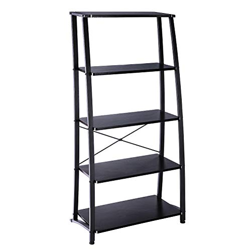 FIVEGIVEN Ladder Bookshelf Leaning Tall 5 Shelf Modern Industrial Metal Brownish Black