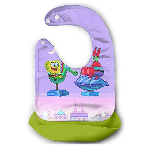 Baby Bib Spongebob Aesthetic Waterproof Feeding Bibs for Babies and Toddlers with Comfort-Fit Fabric Neck Green ()
