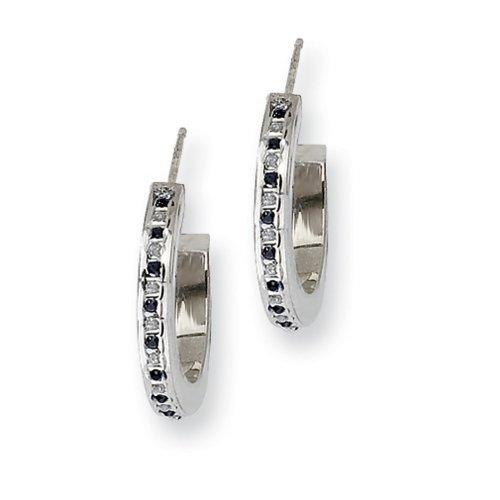 IceCarats® Designer Jewelry Sterling Silver Platinum-Plt Diamond Sapphire Round Post Hoop Earrings